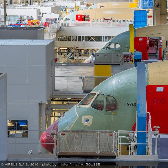 Chaîne d'assemblage Airbus A350 XWB à Toulouse